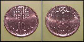 332 KM#633 Portugal - 10 Escudos 1990 (Latão Níquel)