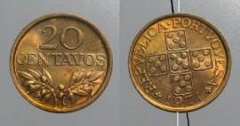 106e KM#595 Portugal - 20 Centavos 1974 Módulo menor (Bronze)
