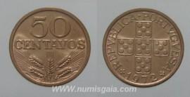 146g KM#596 Portugal - 50 Centavos 1972 (Bronze)