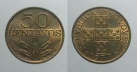 151i KM#596 Portugal - 50 Centavos 1977 (Bronze)