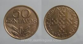 151l KM#596 Portugal - 50 Centavos 1977 (Bronze)