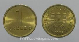 196k KM#614 Portugal - 1 Escudo 1985 (Latão Níquel)