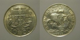 316c KM#582 Portugal - 10 Escudos 1948 (Prata)