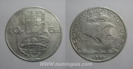 317q KM#586 Portugal - 10 Escudos 1954 (Prata)