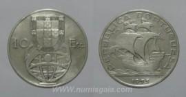 318o KM#586 Portugal - 10 Escudos 1955 (Prata)