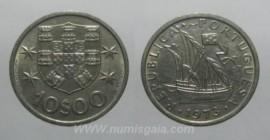 325i KM#600 Portugal - 10 Escudos 1973 Legenda Invertida (Cupro-Níquel)