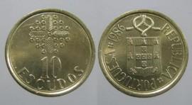 328d KM#633 Portugal - 10 Escudos 1986 (Latão Níquel)