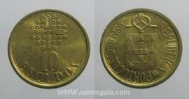328j KM#633 Portugal - 10 Escudos 1986 (Latão Níquel)