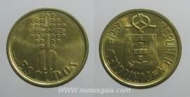 329d KM#633 Portugal - 10 Escudos 1987 (Latão Níquel)