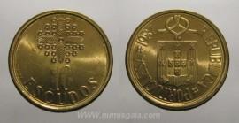 329j KM#633 Portugal - 10 Escudos 1987 (Latão Níquel)