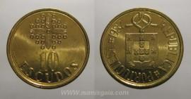 329k KM#633 Portugal - 10 Escudos 1987 (Latão Níquel)