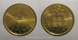 329n KM#633 Portugal - 10 Escudos 1987 (Latão Níquel)