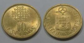 330e KM#633 Portugal - 10 Escudos 1988 (Latão Níquel)