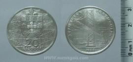 344u KM#592 Portugal - 20 Escudos 1966 Ponte Salazar (Prata)