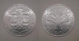 378h KM#601 Portugal - 50 Escudos 1971 Banco de Portugal Leg. Invertida (Prata)