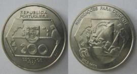 428f KM#659 Portugal - 200 Escudos 1991 Navegação Ocidente (Cupro-Níquel)