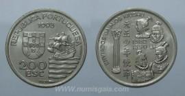 435k KM#667 Portugal - 200 Escudos 1993 Enviados Daimios kiushu (Cupro-Níquel)