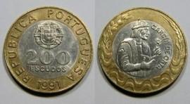 472c KM#655 Portugal - 200 Escudos 1991 Garcia de Orta (Bimetal)