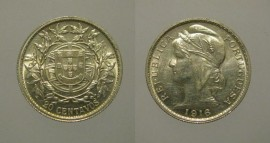69e KM#562 Portugal - 20 Centavos 1916 (Prata)