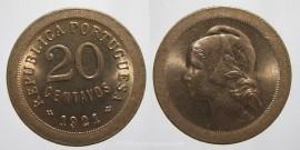 73j KM#571 Portugal - 20 Centavos 1921 P Aberto (Cupro Níquel)