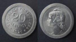 70c KM#571 Portugal - 20 Centavos 1920 (Cupro Níquel)