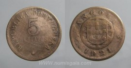 Angola KM#62AO21b - 5 CENTAVOS 1921