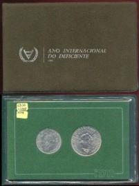 Portugal BNC309A KM#MS5 - Colecção moedas 1984 Ano Internacional Deficiente (Cupro Níquel)