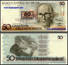 Brasil - 50 CRUZEIROS sobre 50 CRUZADOS NOVOS (Ovpt) 1991 (Carlos Drummond de Andrade)