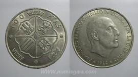 Espanha KM#797ES66 - 100 PESETAS 1966 (PRATA)