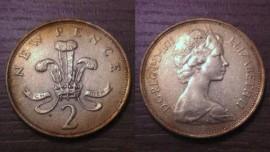 Great Britain KM#916GB71b - 2 NEW PENCE 1971