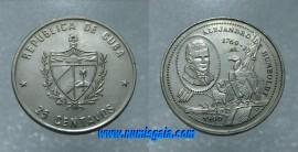 Cuba KM#365CU89 - 25 CENTAVOS 1989