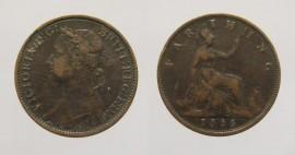 Great Britain KM#---GB1886  Farthing Bun Head 1886 Victoria