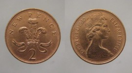 Great Britain KM#916GB80 - 2 NEW PENCE 1980