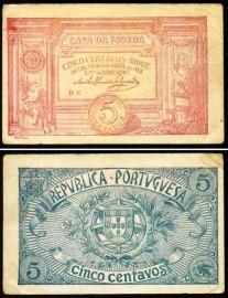 Portugal cédula MA5e(DX) - 5 CENTAVOS BRONZE 1918 CASA DA MOEDA