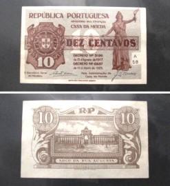Portugal cédula MA10(b) - 10 CENTAVOS 1925 (CASA DA MOEDA)