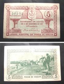 Portugal cédula MA1904 - 5 CENTAVOS Câmara Municipal da PÓVOA DO VARZIM