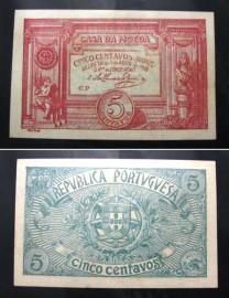 Portugal cédula MA5(c) - 5 CENTAVOS BRONZE 1918 CASA DA MOEDA