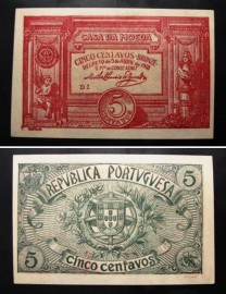Portugal cédula MA5e(a) - 5 CENTAVOS BRONZE 1918 CASA DA MOEDA
