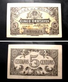 Portugal cédula MA7(a) - 5 CENTAVOS BRONZE 1918 CASA DA MOEDA