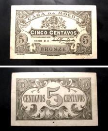 Portugal cédula MA7(b) - 5 CENTAVOS BRONZE 1918 CASA DA MOEDA
