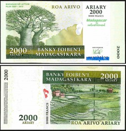 Madagascar MDG2000=10000(2012)d - 2000 ARIARY = 10000 FRANCS 2004