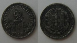 7 KM#567 Portugal - 2 Centavos 1918 (FERRO)