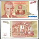 Yugoslávia YUG5000(1993) - 5000 DINARA 1993