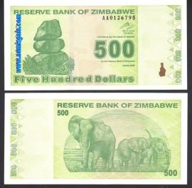 Zimbabué ZWE500(2009)i - 500 DOLLARS 2009