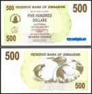Zimbabué - 500 DOLLARS 2006